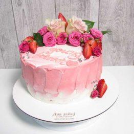 торт з квітами акварель