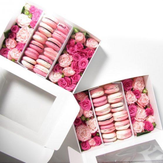Подарунковий набір Макаронс+Квіти XXL