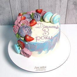 Торт 2 кг. Акварель з кремовими квітами