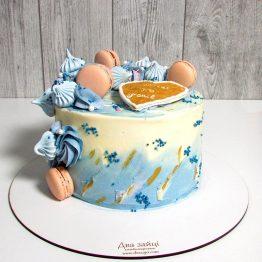 Торт 2 кг Акварель з макарон та бізе
