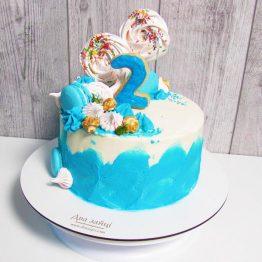 Торт акварель на 2 рочки